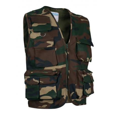 Gilet sans manches bodywarmer safari camouflage