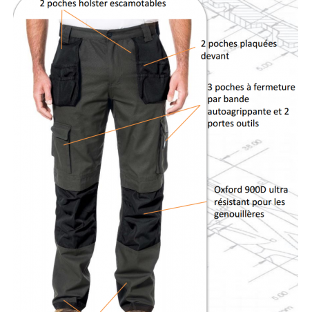 Pantalon de travail Trademark CAT coupe slim Caterpillar