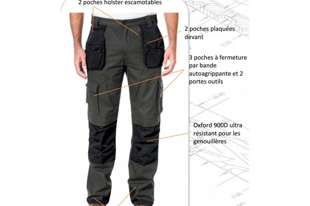 Pantalon de travail caterpillar cotepro for Plan de travail slim