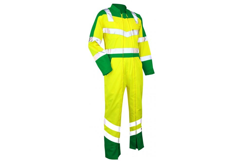 Combinaison haute visibilité double fermeture Vigilance LMA vert jaune