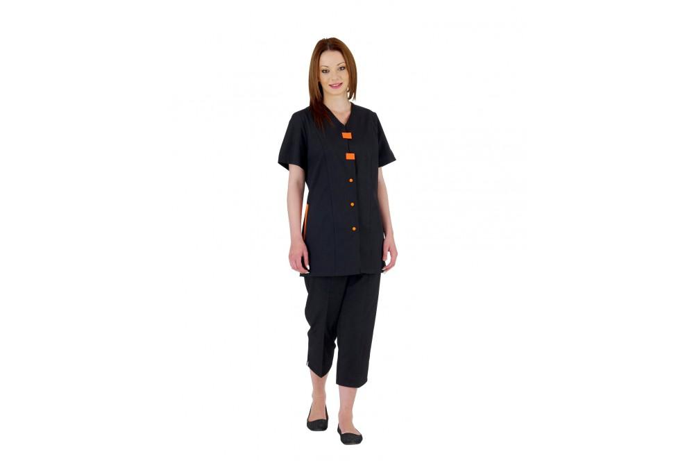 Tunique de travail femme Delphy noir manches courtes