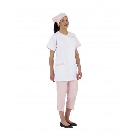 Tunique de travail femme Dalhia blanche manches courtes