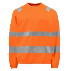 Sweat haute visibilite col rond 6106 Projob orange fluo