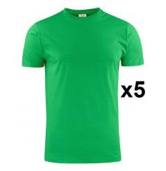 Tee shirt manches courtes vert Heavy RSX lot de 5