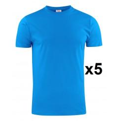 Tee shirt manches courtes eco bleu light RSX lot de 5