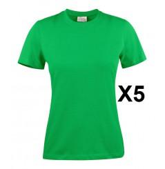 Tee shirt manches courtes femme vert Heavy RSX lot de 5